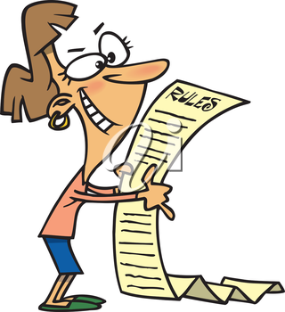Royalty Free Clipart Image of a Woman Reading Rules