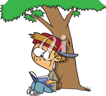 Royalty Free Clipart Image of a Boy Reading Under a Tree