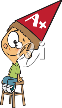 Royalty Free Clipart Image of a Boy Wearing a Dunce Cap With an A+ on It