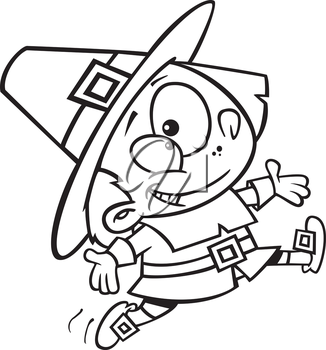 Royalty Free Clipart Image of a Happy Pilgrim