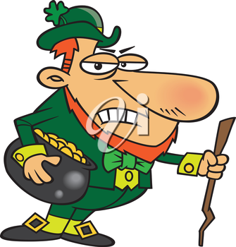 Royalty Free Clipart Image of a Grumpy Leprechaun
