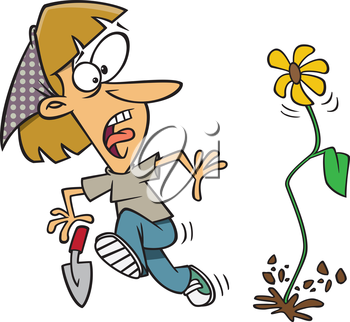Royalty Free Clipart Image of a Woman Looking Frightened at a Flower