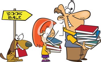 Royalty Free Clipart Image of a Man, Girl and Dog at a Book Sale