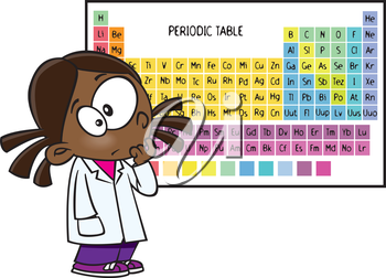 Royalty Free Clipart Image of a Girl in Front of a Periodic Table