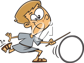Royalty Free Clipart Image of a Roman Boy Spinning a Wheel
