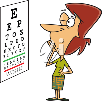 Royalty Free Clipart Image of a Woman Reading an Eye Chart