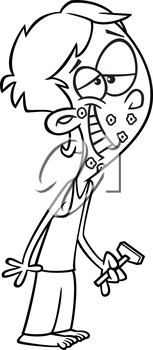 Royalty Free Clipart Image of a Boy After His First Shave