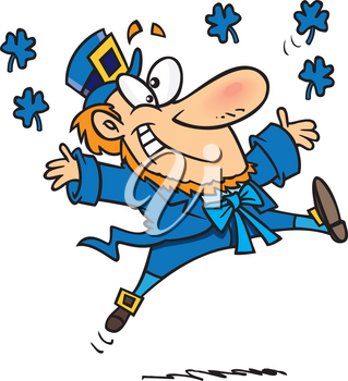 Royalty Free Clipart Image of a Blue Leprechaun