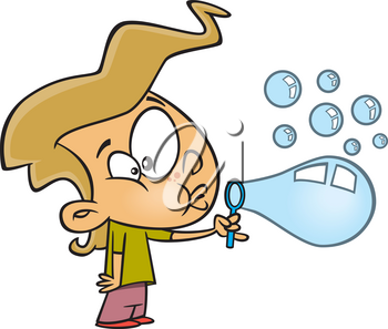 Royalty Free Clipart Image of a Girl Blowing Bubbles