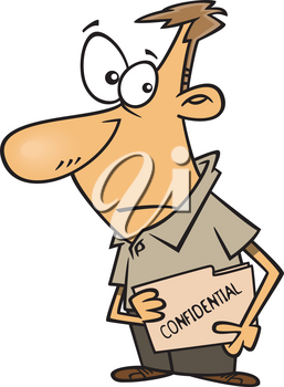 Royalty Free Clipart Image of a Man Holding a Confidential File