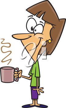 Royalty Free Clipart Image of a Woman Holding a Coffee Mug