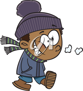 Royalty Free Clipart Image of a Boy Walking on a Winter Day