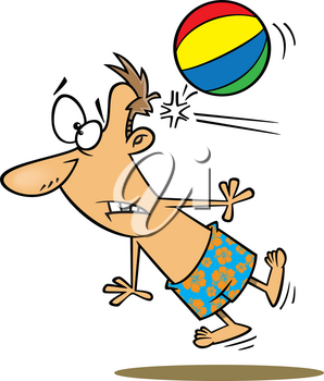 Royalty Free Clipart Image of a Man Getting Hit in the Head With a Beach Ball