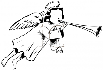 Royalty Free Clipart Image of an Angel Blowing a Horn