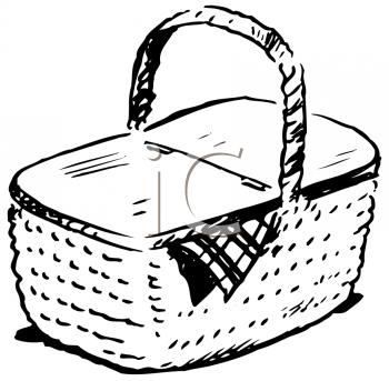 Royalty Free Clipart Image of a Picnic Basket