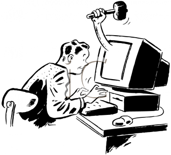 Royalty Free Clipart Image of a Man Sitting at a Computer About to Get Hit on the Head With a Mallet
