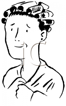 Royalty Free Clipart Image of a Woman in Curlers
