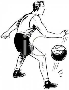 Royalty Free Clipart Image of a Man Dribbling a Basketball