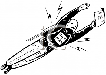 Royalty Free Clipart Image of a Fax Man