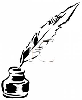 Royalty Free Clipart Image of a Quill Pen and an Inkwell