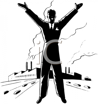 Royalty Free Clipart Image of a Man With His Arms Upraised