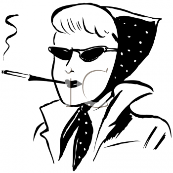 Royalty Free Clipart Image of a Woman Wearing a Scarf and Smoking a Cigarette in a Holder