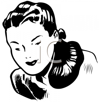 Royalty Free Clipart Image of a Woman Leaning Forward
