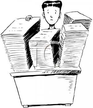 Royalty Free Clipart Image of a Woman Behind Stacks of Paperwork
