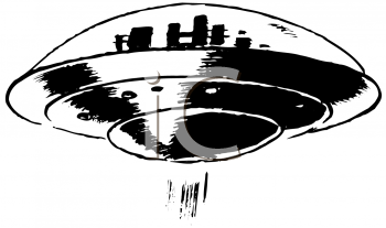 Royalty Free Clipart Image of a Flying Saucer