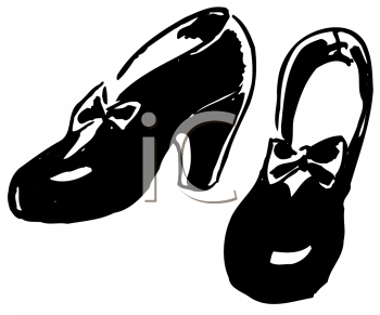 Royalty Free Clipart Image of a Pair of Women's Vintage Shoes
