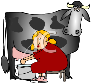 Royalty Free Clipart Image of a Woman Milking a Cow