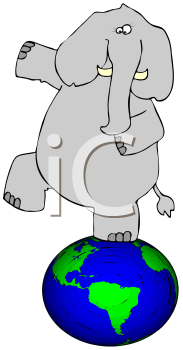 Royalty Free Clipart Image of an Elephant Standing on a Globe