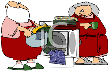 Royalty Free Clipart Image of Mr. and Mrs. Claus Doing Laundry