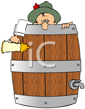 Royalty Free Clipart Image of A Man In A Beer Barrel