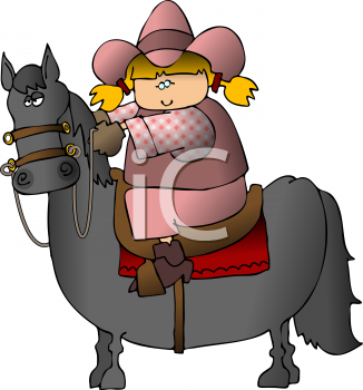 Royalty Free Clipart Image of a Cowgirl Riding a Horse