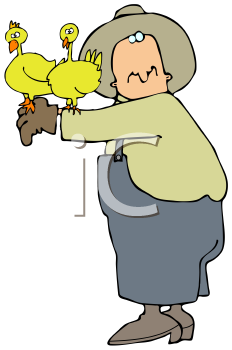 Royalty Free Clipart Image of a Man Holding Chickens