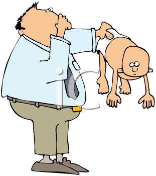 Royalty Free Clipart Image of a Man Holding a Baby With a Dirty Diaper