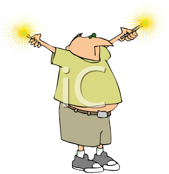 Royalty Free Clipart Image of a Boy With Sparklers