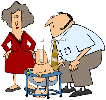 Royalty Free Clipart Image of a Mom, Dad and Baby