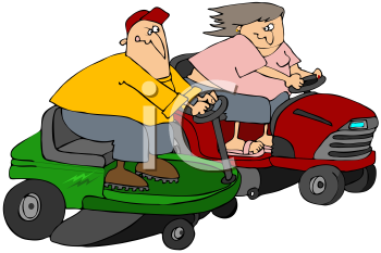 Royalty Free Clipart Image of People Racing Lawnmowers