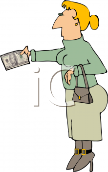 Royalty Free Clipart Image of a Woman Holding Cash