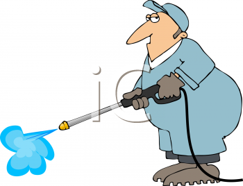 Royalty Free Clipart Image of a Man Using a Pressure Washer