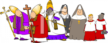 Royalty Free Clipart Image of Religious People