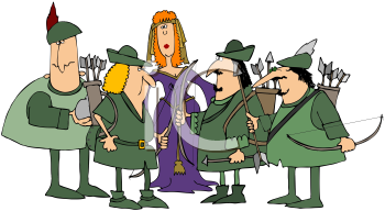 Royalty Free Clipart Image of Robin Hood and His Merry Men