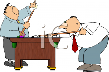 Royalty Free Clipart Image of People Playing Pool