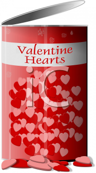 Royalty Free Clipart Image of a Can of Hearts