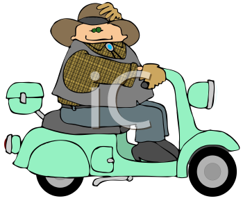 Royalty Free Clipart Image of a Man Riding a Scooter