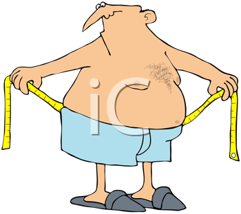 Royalty Free Clipart Image of a Man Measuring His Waistline