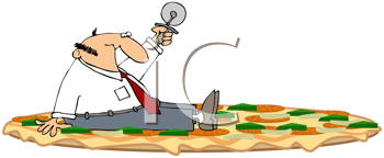 Royalty Free Clipart Image of a Man With a Pizza Cutter on a Pizza