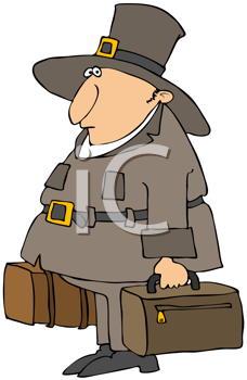 Royalty Free Clipart Image of a Pilgrim With Suitcases